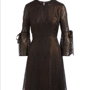 Nine West black bronze belle sleeve dress NWT